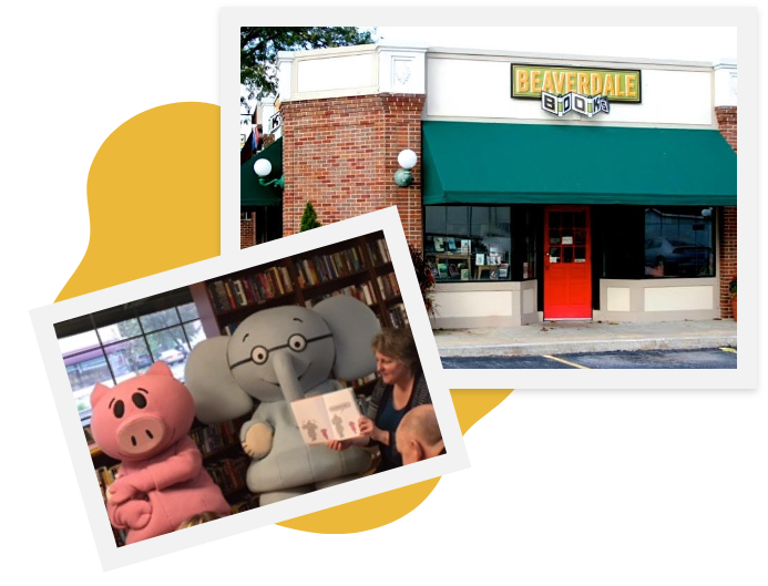 Beaverdale Books graphic: Exterior of shop and photo of children's event in the shop