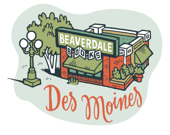 Illustration of the exterior of Beaverdale Books in Des Moines, Iowa
